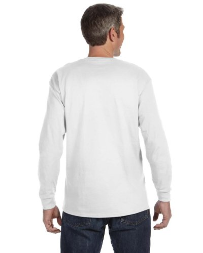 JERZEES Mens Heavy Blend Cotton/Poly Long Sleeve T-Shirt, Large, White (50 Long Sleeve T-shirt)