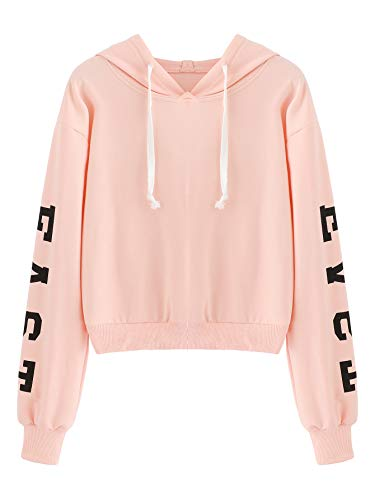 MakeMeChic Womens Letter Print Crop Top Sweatshirt Long Sleeve Pullover Hoodies, X-Small, Pink