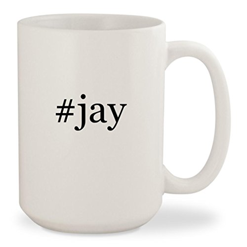 #jay - White Hashtag 15oz Ceramic Coffee Mug Cup