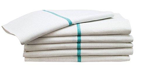 Barber Towel 26 Oz. White With Green Stripe (1) (Barber Stripe)