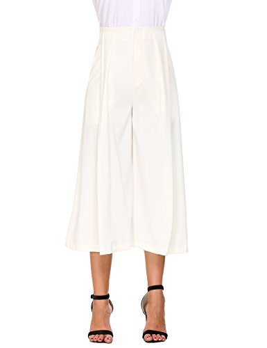 Zeagoo Womens High Waist Comfy Chic Pleated Front Wide Leg Casual Pants with Pockets,White-side ()