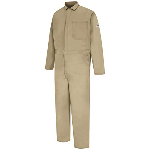 Bulwark Men's Flame Resistant 9 oz Twill Cotton Classic Coverall with Hemmed Sleeves, Khaki, 40 ()