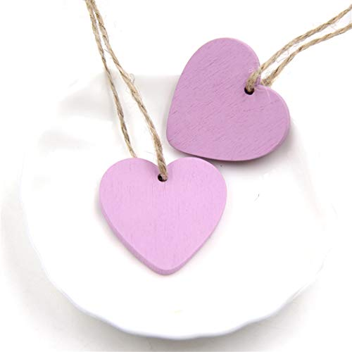 CAHEDSD 10PC DIY Wooden Hearts Wooden Pendants Ornaments