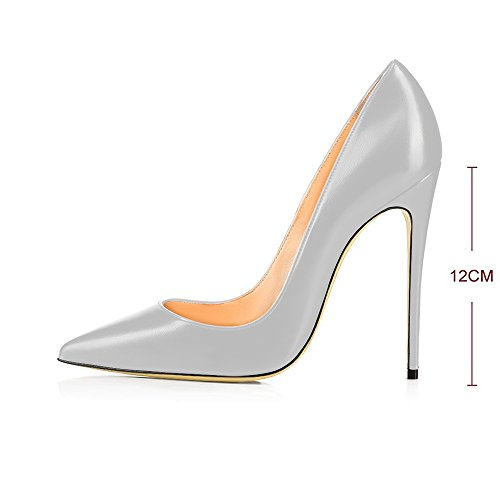 Heels Toe Stilettos Party Large Modemoven Gray High On Shoes Slip Evening Pointy Women's Pumps Size Wedding 04UEI