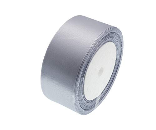 - ATRibbons 50 Yards 1-1/2 inch Wide Satin Ribbon Perfect for Wedding,Handmade Bows and Gift Wrapping,25 Yards/Roll x 2 Rolls (Silver Gray)