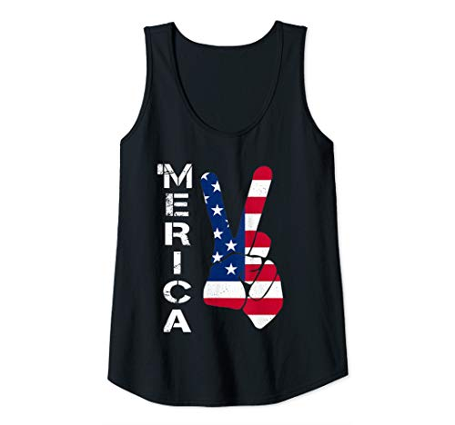 Womens 4th Of July 'Merica Peace Sign Hand American Flag Patriotic Tank Top