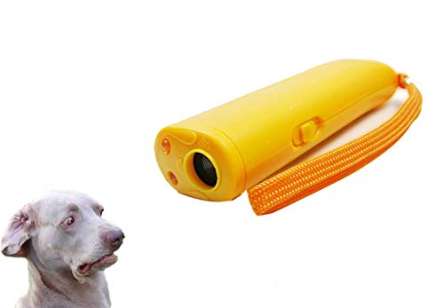 ASOCEA New 3 in 1Ultrasonic Dog Trainer Repeller Anti Barking Stop Bark Training Device with LED (Yellow)