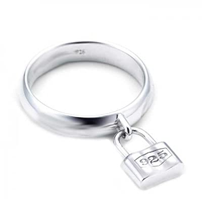 discount Bling Jewelry Dangle Charm Padlock Sterling Silver Ring big discount