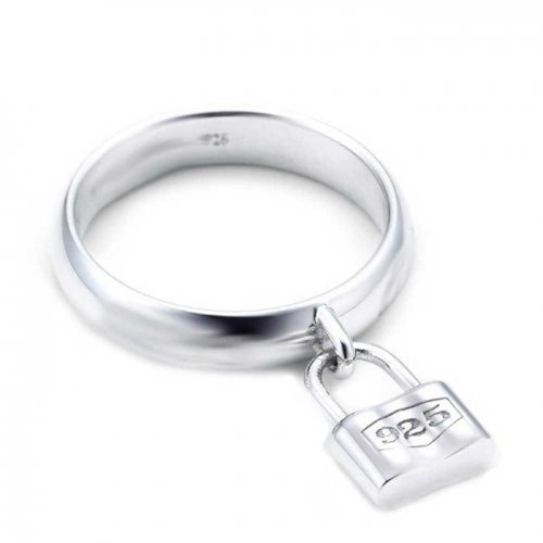 Bling Jewelry Sterling Silver Lock Charm Padlock Style Ring