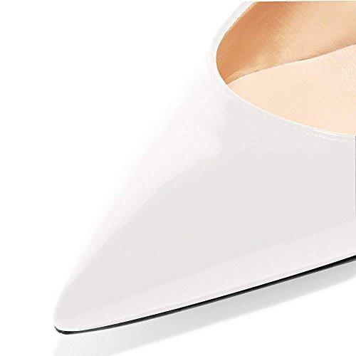 Pan Escarpins soirée de Talon de Cheville Caitlin Escarpins 65MM de Rouge Bout Semelle Femmes Chaussures Pointu Blanc Sangles Chaton Bx4qA1w