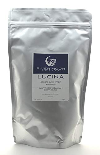 Espresso Ground Coffee, Dark Roast Italian Style, 16 ounces, Direct Trade Non GMO, Fine Espresso Grind, Rich, Sweet, Lucina Blend, from River Moon - Roast Grind Medium