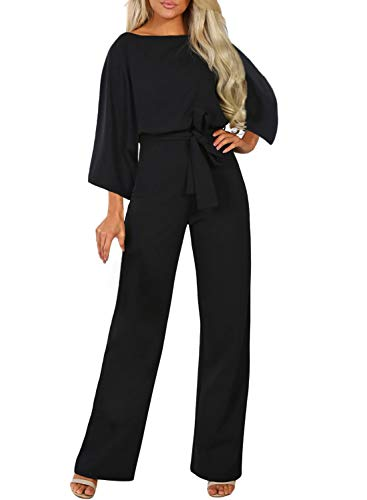 Happy Sailed Womens Elegant Jumpsuit High Waist Crewneck Overall Long Sleeve Black Romper Playsuits with Belts Large