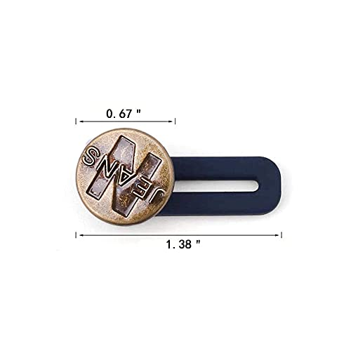 AXEN 8 Pieces Button Waist Extender, Elastic Stainless Steel Extender for Denim Jeans Trousers Pants Shirts Collars, Add 1.4 inch