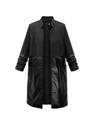 Cappotti Antivento Outwear Windbreaker Giacca Cucitura Di Coreana Collo Con Casual Giovane Unico Manica Monocromo Nero Tasche Invernali Lunga Pelle Donna wt551qf