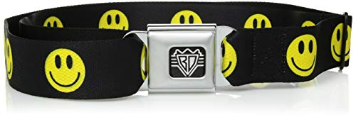 Smiley Face Belt Buckle - Buckle-Down Unisex-Adult's Seatbelt Belt Smiley Face XL, Yellow/Black, 1.5