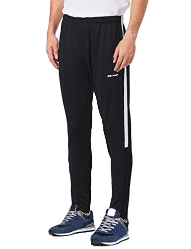 Baleaf Men's Soccer Warm Up Pants Running Training Jogging Zip Leg Black/White Size M ()
