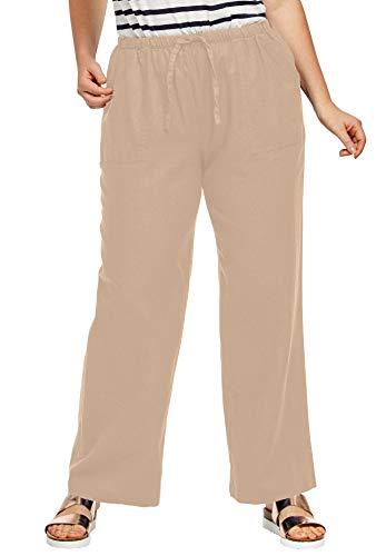 Ellos Women's Plus Size Linen Blend Drawstring Pants - New Khaki, 14
