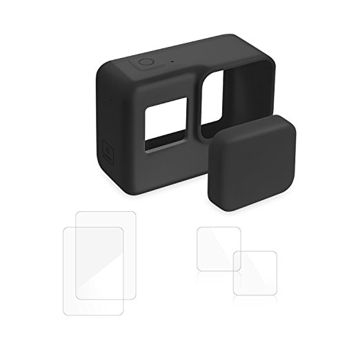 Protective Accessory Kits for Gopro HERO6/5 Black Action Camera - Soft Silicone Camera Housing Case, Lens Cap Cover, LCD Anti-Scratch Screen Protector, Lens Protector ()