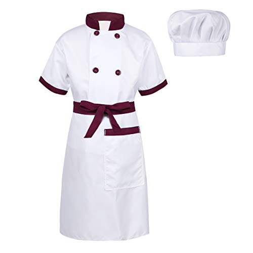 Agoky Children Boys Girls Chef Kitchen Cooking Costume Outfits Jacket with Apron and Hat Halloween Cosplay Party Fancy Dress Up Burgundy&White 7-8