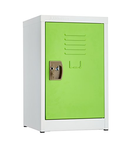 AdirOffice Kids Steel Metal Storage Locker - For Home & School - With Key & Hanging Rods (24 Inch, Green)