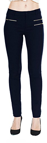 Stud Pocket Jean - Women's Slim Fit Super Stretch Comfy Jeggings Skinny Pants With Real Back Pockets, Navy With 3 Stud Zippers, Medium