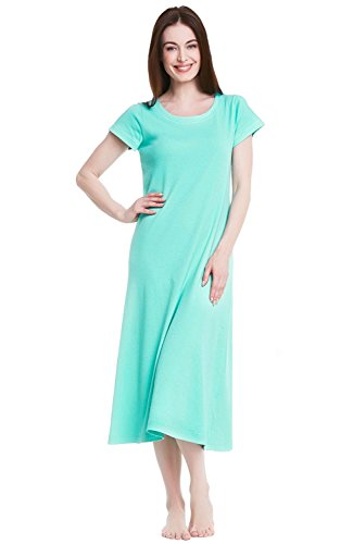 Alexander Del Rossa Womens Cotton Knit Nightgown, Long Short Sleeve Sleep Dress, X-Large Sea Glass - Couch Glasses