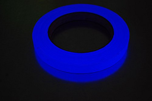 Half Inch x 25 Yards UV Blacklight Reactive Fluorescen t Gaffer Tape (Blue)