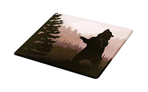 (Ambesonne Nature Cutting Board, Silhouette of Wild Bear in the Jungle Woodland at Dark Night Illustration, Decorative Tempered Glass Cutting and Serving Board, Large Size, Army Green Pale Peach)