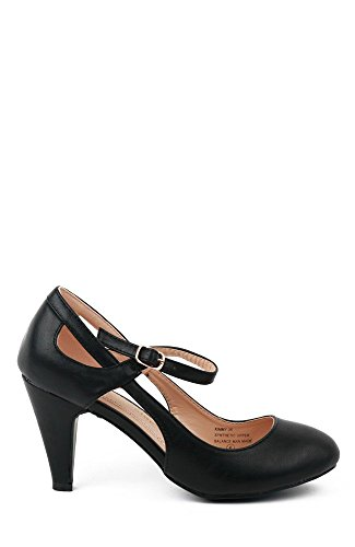 Strap Low Jane KIMMY Black and Chase Heel PU Mary Cut Chloe Womens Pump Black Ankle Leatherette Out 35 Y7wz4wq