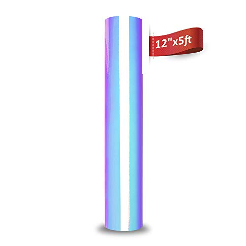 White Iridescent Outdoor - Holographic Chrome Vinyl Roll Permanent Adhesive Craft Vinyl 1x5ft Opal White