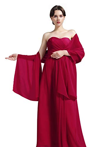 Sheer Soft Chiffon Bridal Women's Shawl For Special Occasions Burgundy ()