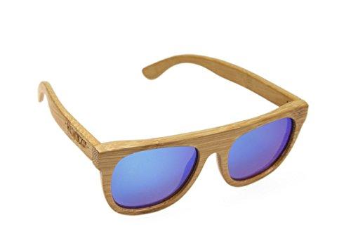 Holzsonnenbrille von Wiesnrocker aus echtem Holz (Holz natur/Gläser blau)