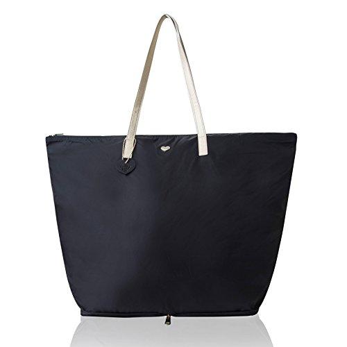 The Lovely Tote Co. Women's Large Portable Zip Shopper Tote Bag (One, Black/Gold) (Bag Shopper Zip)