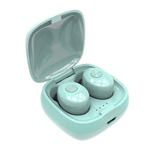 IslandseXG12 TWS Bluetooth 5.0 Earphones Wireless Waterproof Mini in-Ear HiFi Headset (Green)