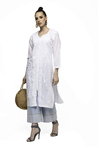 Hulara 100% Katoen Chikan Kurta voor Vrouwen, Handgemaakte Witte Kurti voor Vrouwen UK Indian Holi Jurk Festival…
