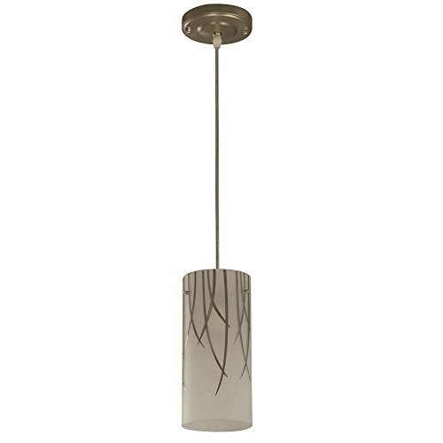 Hampton Bay 1-Light Brushed Nickel Mini Pendant with Bamboo Leaf Pattern Etched White (White Leaf Pendant)