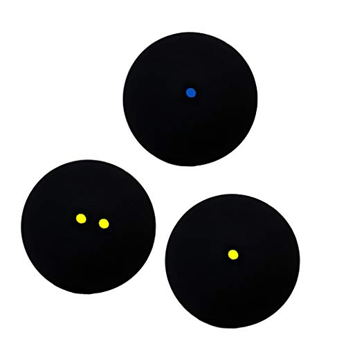 DYNWAVE 3 Pack Professional Squash Ball with Single Blue Yellow Dot Double Yellow Dots Squash Training Match Balls