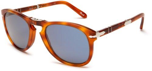 Persol Mens PO0714SM 96/56 Round Sunglasses,Blue Frame/Light Havana Lens - Po0714sm
