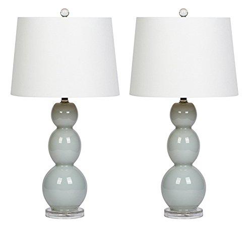 Virtue Home Bellacina Modern Light Grey Glass Table Lamp, Set of 2, 27″ x 14″ x 14″, 601-26WH