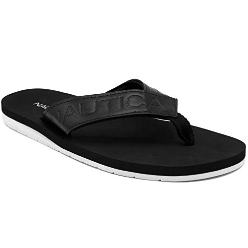 Nautica Men's Flip Flop Casual Beach Sandals-Aeris-Black-10