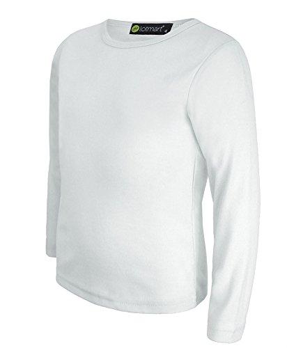 Kinder Uni Einfach Top Langärmelig Mädchen Jungen T-Shirt Oberteile Crew Uniform T-Shirt - Weiß, Damen, 110-116