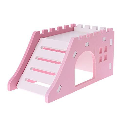 STEBCECE Wooden Pet House Hamster Ladder Viewing Deck Hedgehog Castle Toy Hamster Climb Nest House (Castle Hamster)