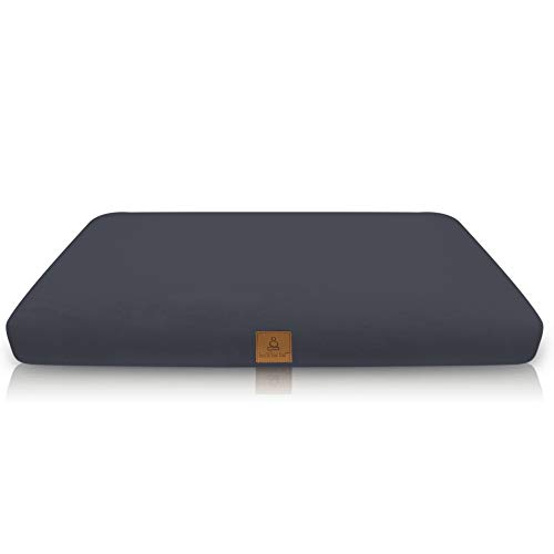 Buckwheat Zabuton Meditation Cushion | Yoga Pillow | Square Ergonomic Design Relieves Stress On Back, Hips, Legs For Total Comfort | Washable Premium Organic Cotton Removable Cover - Grey