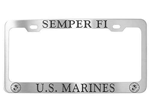 GoPlates US Marines Customized License Plate Frame Stainless Seel ()
