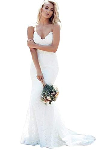 Modeldress Womens Mermaid Lace Spaghetti straps Beach Wedding Dresses Bridal MaxiA-WhiteUS8