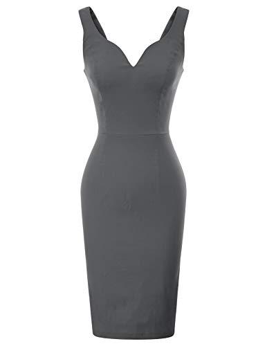 GRACE KARIN Womens Sleeveless Deep V Neck Sheath Dress XL Grey