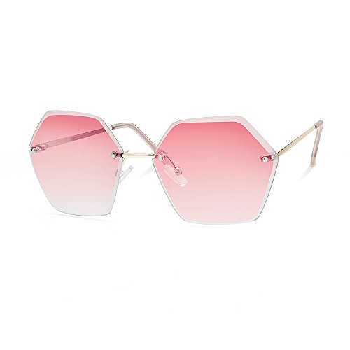 TWING Rimless Geometric Fashion Hexagon Shaped Ocean Lens Sunglasses with Hexagon Design (M10348- - Shaped Sunglasses