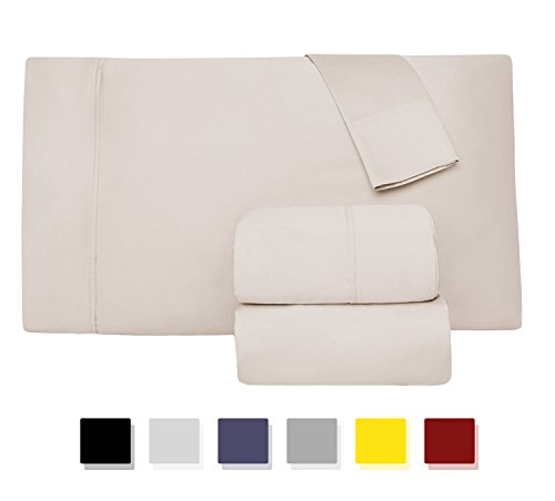 Egyptian Cotton Bed (Comfy Sheets Luxury 100% Egyptian Cotton - Genuine 1000 Thread Count 4 Piece Sheet Set-Fits Mattress Up to 18'' Deep Pocket (King, Cream))