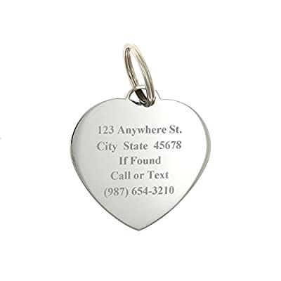 Custom Engraved Personalized Stainless Steel Heart Swaroski Zirconia Dog Pet ID Jewelry Bling Tag by Yippo Accessories