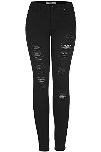 2LUV Women's Distressed Skinny Jeans Black - Distressed Black